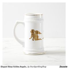Elegant Shiny Golden #Angels Heavenly White Beer Stein #ChristmasParty