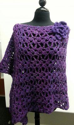 Lacey Trellis Asymmetrical Poncho - Free crochet pattern by Jennifer Uribe