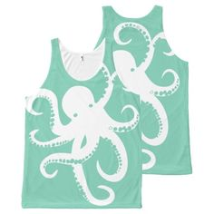 Cute White Octopus Illustration On Mint All-Over Print Tank Top Tank Tops