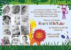 Jungle Zoo Photo Card Birthday Invitation - Year of Fun Collage