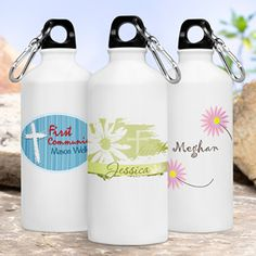 Christian themed personalized  water bottles.