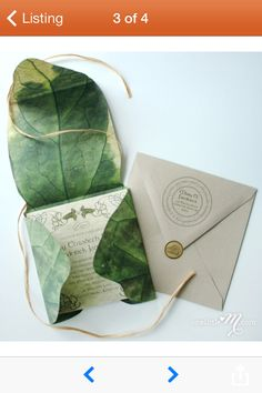 Wrap in a leaf... nature, good for outdoor wedding... also discreetly lotr. <3 a girl can dream