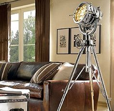 Restoration Hardware Royal Master Sealight Floor Lamp- Can use a filament bulb. Its really cool but rather large unless you have a big home. Oh yeah, its super expensive as well. Industrial Floor Lamps, Vintage Industrial Decor, Industrial Furniture, Spotlight Floor Lamp, Studio Lamp, Inside Man, Spots, Tripod Lamp, Spotlight