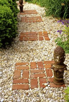 Great way to use up some off them old brick pavers laying around the house and for walkway idea.