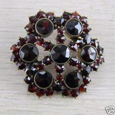 Gold over Silver Vermeil Victorian Bohemian Rose Cut Garnet Pin Brooch AN-G111
