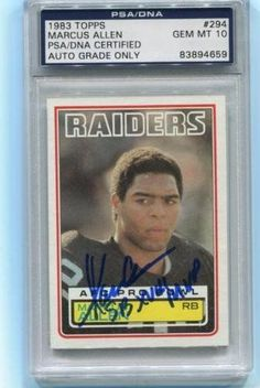 Marcus Allen signed SB XVIII MVP RC 1983 Topps Rookie Card gem mint 10 auto - PSA/DNA Certified - Football Slabbed Autographed Rookie Cards *** See this great product.