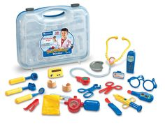 Have a kid afraid of going to the doctor or dentist? We used this kit as a way for the kids to play-act visiting a doctor and making them feel comfortable.