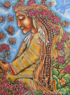 Pachamama's message is about transformation. Here she represents our eternal oneness with the earth. Art by Jassy Watson.