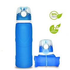 silbyloyoe Silicone Water Bottle Foldable Collapsible Anti Leakage with Leak Proof Valve Bottles Travel Outdoor Sports Lightwight Portable BPA Free Medical Food Grade 26 Ounce (Blue) Travel Water Bottle, Infused Water Bottle, Glass Water Bottle, Summer Packing Lists, Foldable Water Bottle, Water Flask, Collapsible Water Bottle, Camping Water, Blender Bottle