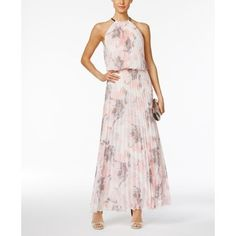 Msk Pleated Floral-Print A-Line Gown