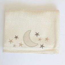 Star and Moon Cellular Cotton Baby Blanket. Available online at http://www.babesandkids.co.za