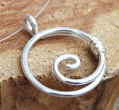 Aluminum Necklace. Spiral. Circle. Minimalist. Silver. Wire Jewelry