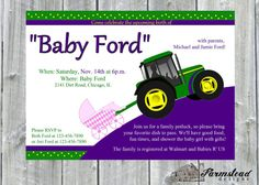 Tractor Baby Shower Invitation Personalized by FarmsteadDesigns