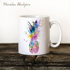 Pineapple Mug Watercolor Ceramic Mug Unique Gift Bird Coffee