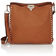 Valentino Garavani Women's Rockstud Messenger Bag ($2,495) ❤ liked on Polyvore featuring bags, messenger bags, tan, tan messenger bag, brown bag, valentino messenger bag, leather courier bag and genuine leather bag
