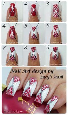 Diagonal Nail Art Tutorial #nails #fashion