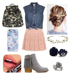 """""""Fancy Country Girl~School"""" by twinkie1619 ❤ liked on Polyvore featuring DKNY, Jean-Paul Gaultier, Amici Accessories, Cult Gaia, Isaac Mizrahi, Natures Jewelry, Fiebiger, country, women's clothing and women's fashion"""