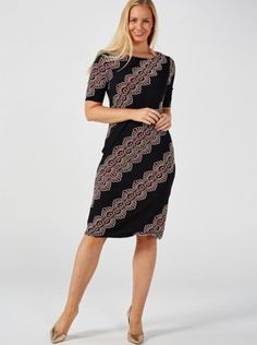 This chic dress from Ronni Nicole features a striking puff print, elbow-length sleeves and a gold-coloured zip at the back, plus a round neckline. Team with your favourite heels for a modern take on the LDB you'll love. Qvc Uk, Ronni Nicole, Chic Dress, Two Piece Skirt Set, Neckline, Zip, Heels, Modern, Skirts