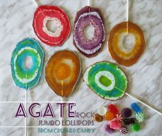 Picture of Agate Rock Lollipops from Crushed Candy -- Simple and Easy! http://www.instructables.com/id/Agate-Rock-Lollipops-from-Crushed-Candy-Simple-and/
