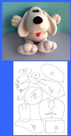 Cats Toys Ideas - Doudou chien - Ideal toys for small cats Sewing Stuffed Animals, Stuffed Animal Patterns, Animal Sewing Patterns, Felt Patterns, Ideal Toys, Fabric Animals, Fabric Toys, Dog Pattern, Free Pattern