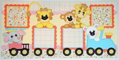 BLJ Graves Studio: Baby Girl Zoo Train Scrapbook Pages