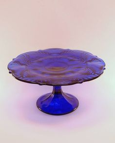 Cobalt blue Thistle Cake Stand, Mosser Glass Co., new