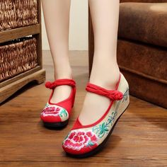 Flower embroidery linen wedges heels Leisure Retro style women pumps shoes