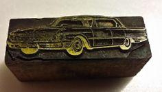 "(L-5) Antique/Vintage Newspaper Print Press Block ""Old Ford Galaxie Car"