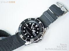 Stay tuned with this Super Oyster bracelet for Seiko SNZF17 Sea Urchin Automatic Watch [SS222003B036] 22mm MiLTAT WW2 2-piece Military Grey Washed Canvas Watch Band with lockstitch round hole, Poli…