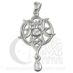 "- HEART w/ CRESCENT MOON PENTACLE with Moonstone dangle. - Handcrafted in fine Sterling Silver (.925). - Size: Measures 1 5/8""h x 7/8""w. - The continuing ebb and flow of life and love guided by the st"