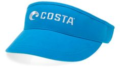 Costa XL Visor. Embroidered Costa logo. Available in a custom Costa Blue color or White. Cloth back strap with adjustable slide buckle. Comfortably fits up to size 7 3/4.