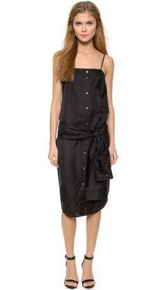 T by Alexander Wang Silk Button Up Tie Dress
