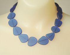 Sea Glass Necklace, Handmade Necklace, Blue Sea Glass,