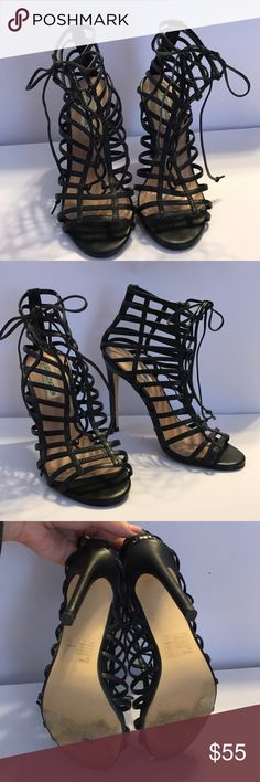 Steve Madden Black Gladiator Lace Up Heel Sandals Worn only a few times.In excellent condition! No scabs or scratches on leather straps. View photos! Vegan leather lace up gladiator sandals! Perfect for spring & summer! Sold out everywhere Steve Madden Shoes Heels