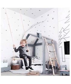 The most delightful kids interior! Use rope inspired cabling and our bark lighting components for your forest cabin lighting. Baby Boy Rooms, Baby Bedroom, Kids Bedroom, Bedroom Ideas, Room Kids, Baby Decor, Kids Decor, Kids Room Design, House Beds