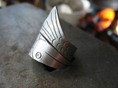 Sterling Silver Hand Stamped Fish Ring by EyvindsAlchemy on Etsy, $50.00