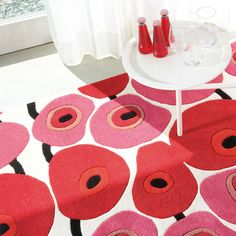 Colors Vitalize Rugs 114 012 100 in Red and Pink by Ligne Pure Contemporary Area Rugs, Modern Rugs, Modern Floral Design, Tibetan Rugs, Red Rugs, Red Poppies, Rug Making, Traditional Design, Red And Pink