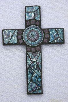 Aqua/Purple Cross by wishflower4, via Flickr