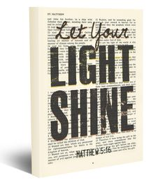 Let your Light Shine - Matthew 5:16 -Vintage Bible page verse scripture - Christian wrapped art CANVAS, dictionary wall & home decor. This reproduction wrapped CANVAS of a highlighted King James Bible scripture is sure to make a great gift for someone. We scan real pages from old Bibles (thus they have slight flaws and aging such as bleeding words from the other side, because the pages are so thin), which just adds to the character. This is a perfect reminder as a christian gift. The...
