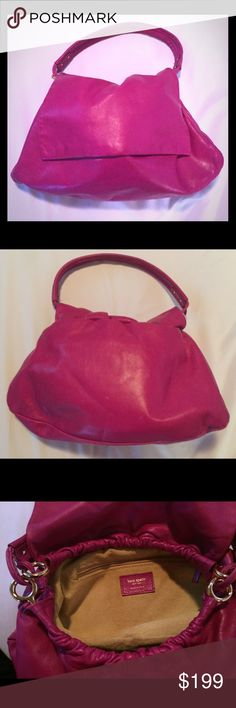 Kate Spade Pink Handbag Gently worn Kate Spade pink handbag.  Very cute, measures about 9 L x 6 H x 2-3 D, short drop, a forearm bag but may fit on your shoulder if you are small.  One tiny spot on bottom interior.  Comes with Kate Spade Duster. kate spade Bags
