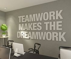 Teamwork Makes the Dreamwork, Office Wall Art, Typography Decor, Office Quotes, Inspirational and Motivational Art – Office – SKU:TWDW Teamwork Makes The Dreamwork – Inspirational Wall Decor Quote Office Wall Design, Modern Office Design, Office Wall Decor, Office Walls, Office Art, Office Interior Design, Office Interiors, Office Designs, Small Office