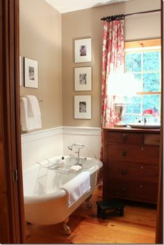 it's the picture perfect modern country bathroom Clawfoot Tub Bathroom, Bathroom Red, Warm Bathroom, Bathroom Stuff, Bathroom Vanities, Bathroom Storage, Small Bathroom, Master Bathroom, Bathroom Ideas