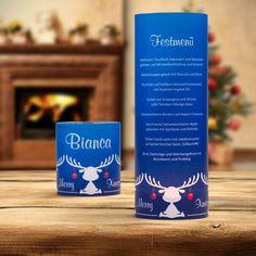 #Weihnachtsdeko #Christmas #Windlicht Menükarte Elche blau: https://www.meine-hochzeitsdeko.de/windlicht-weihnachten-menuekarte-elche