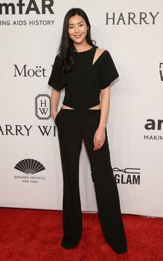 Pin for Later: Your Favourite Models and It Girls Wore the Sexiest Dresses to the amfAR Gala Liu Wen Wearing Prabal Gurung.