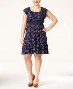 American Rag Plus Size Dot-Print Flare Dress, Only at Macy's