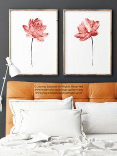 Coral Orange Lotus Flower Watercolor Painting set Two