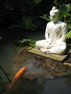 Very Zen! Buddha with Koi pond Buddha Kunst, Buddha Zen, Buddha Buddhism, Buddha Wisdom, Gautama Buddha, Zen Meditation, Meditation Corner, Image Zen, Carpe Koi