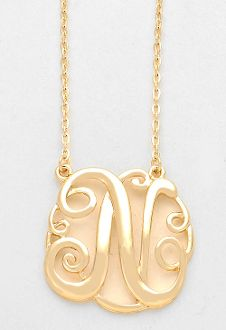Monogram initial necklace 15 letter k pendant silver chain monogram initial necklace 15 letter n pendant gold chain aloadofball Gallery