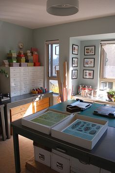 Lovely Design's Studio Space. I have one of those IKEA sets of drawers, but could really use 4 more...