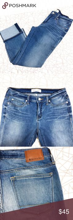 Henry & Belle Cuffed Capri The Cuffed Crop Jean is a form-fitting style jean. The cuffed hem gives a timeless look that works day or night. It has a straight waistband, which sits below the waist. Faux front pockets for a smoother fit. Henry and Belle Jeans Ankle & Cropped